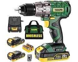 "TECCPO Cordless Drill Set, 20V Brushless Drill Driver Kit, 2x 2.0Ah Li-ion Batteries, 530 In-lbs Torque, 1/2""Keyless Chuck, 2"