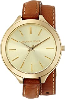 86384e13bbb6 MICHAEL KORS Mk2256 Slim Runway Luggage Leather Double Wrap Strap Watch  Watch For Women