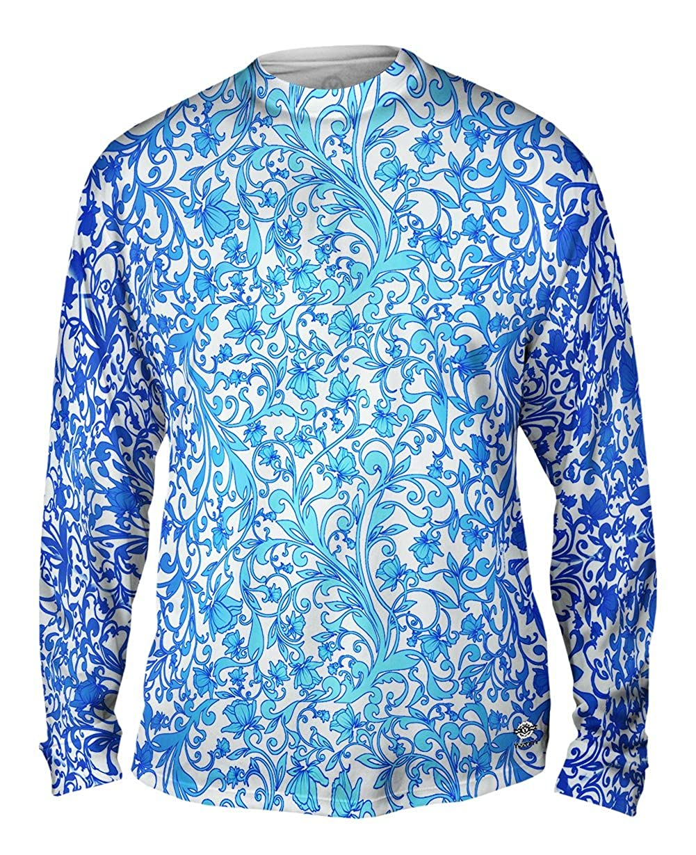 Tshirt Yizzam Swirl Flower Navy Turquoise Pattern Mens Long Sleeve