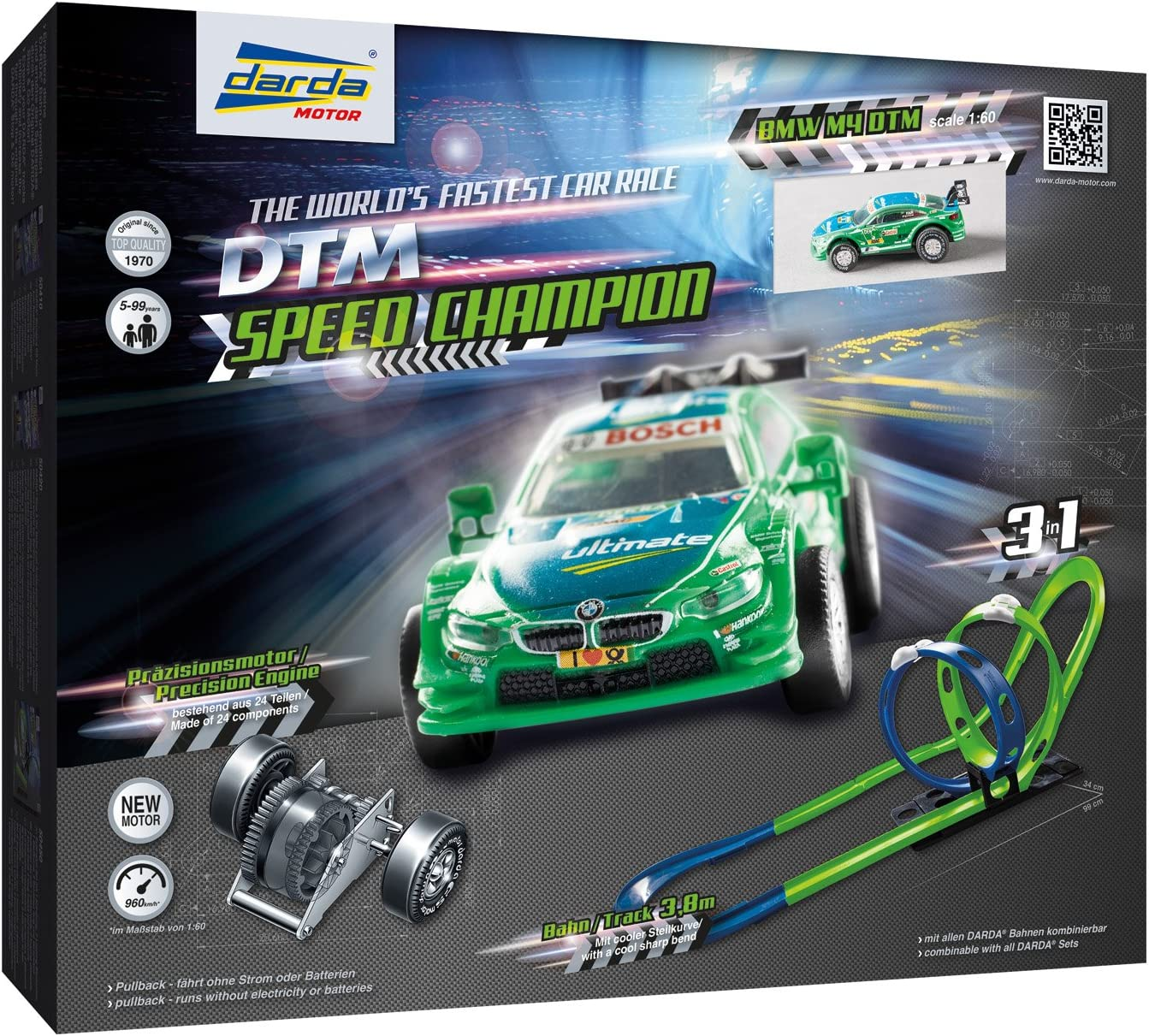 Darda 50251 Darda Racing Track Dtm Speed Champion Length Approx 3 80 M With 2 Loopings Steep Curve And Dtm Racing Car Bmw M4 Farfus Racing Car Playset For Children From 5 Years