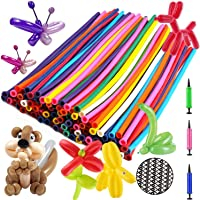 Balloon Animals Kit Twisting Balloons (100pcs) with Unbreakable Air Pump - Latex Long Balloons for Animal Shape Party…
