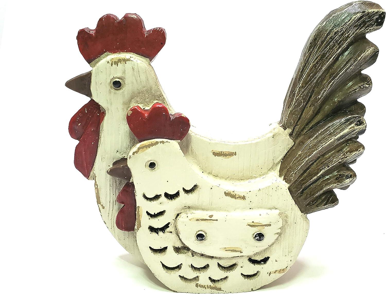 Rustic Chicken Pair Tabletop Decor Figurine