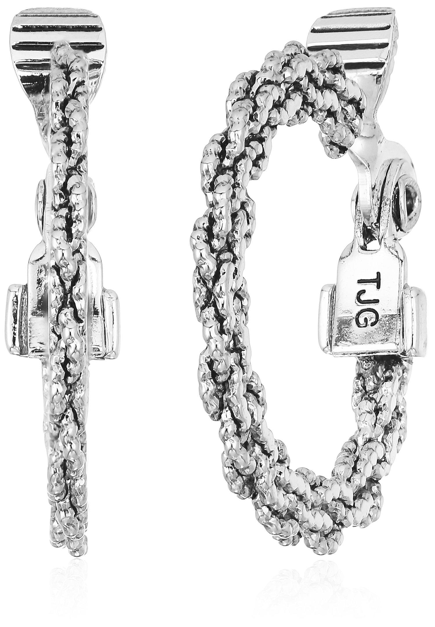 Anne Klein Women's Silver Tone Cable Hoop Clip On Earrings