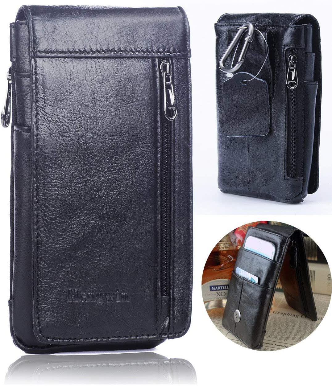 Hwin Belt Case Pouch Belt Clip Holster Compatible iPhone 8 Plus, Premium Leather Phone Pouch Carrying Case Belt Loops Ultrathin Waist Bag Men's Purse Galaxy S8/S9 Plus LG Stylo 3/G6/V30+Keyring-Black