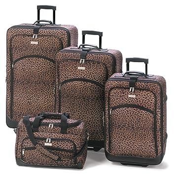 Amazon.com: 4Pc Matching Leopard Print Travel Luggage Bag Ensemble ...
