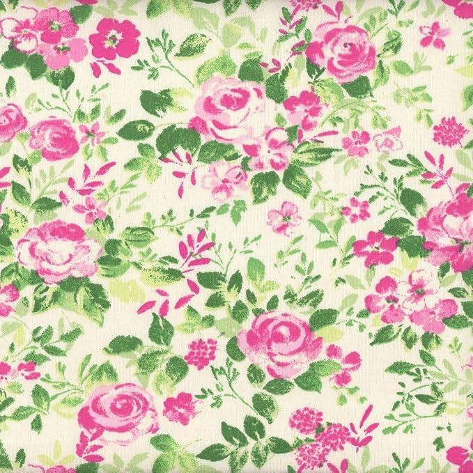 Tela rosa, magenta y verde jardín de rosas (Colección un jardín rústico - rosa y menta) - 100% algodón suave | ancho: 140cm (1 metro): Amazon.es: Hogar