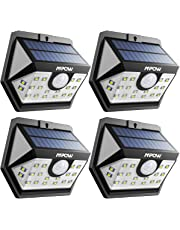 Mpow Solar Lights, 20 LED Solar Powered Security Lights with Motion Sensor Wide Angle Lighting, Upgraded Sensor Head Waterproof, Pack of 4