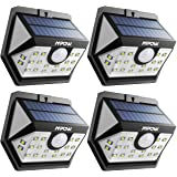 Mpow Solar Lights MPCD151AB, 20 LED Super Bright Motion Sensor Security Lights, Solar Powered Lights with Wide Angle Lighting, Upgraded Sensor Head, Waterproof for Yard, Garage, Pathway and Garden, Pack of 4
