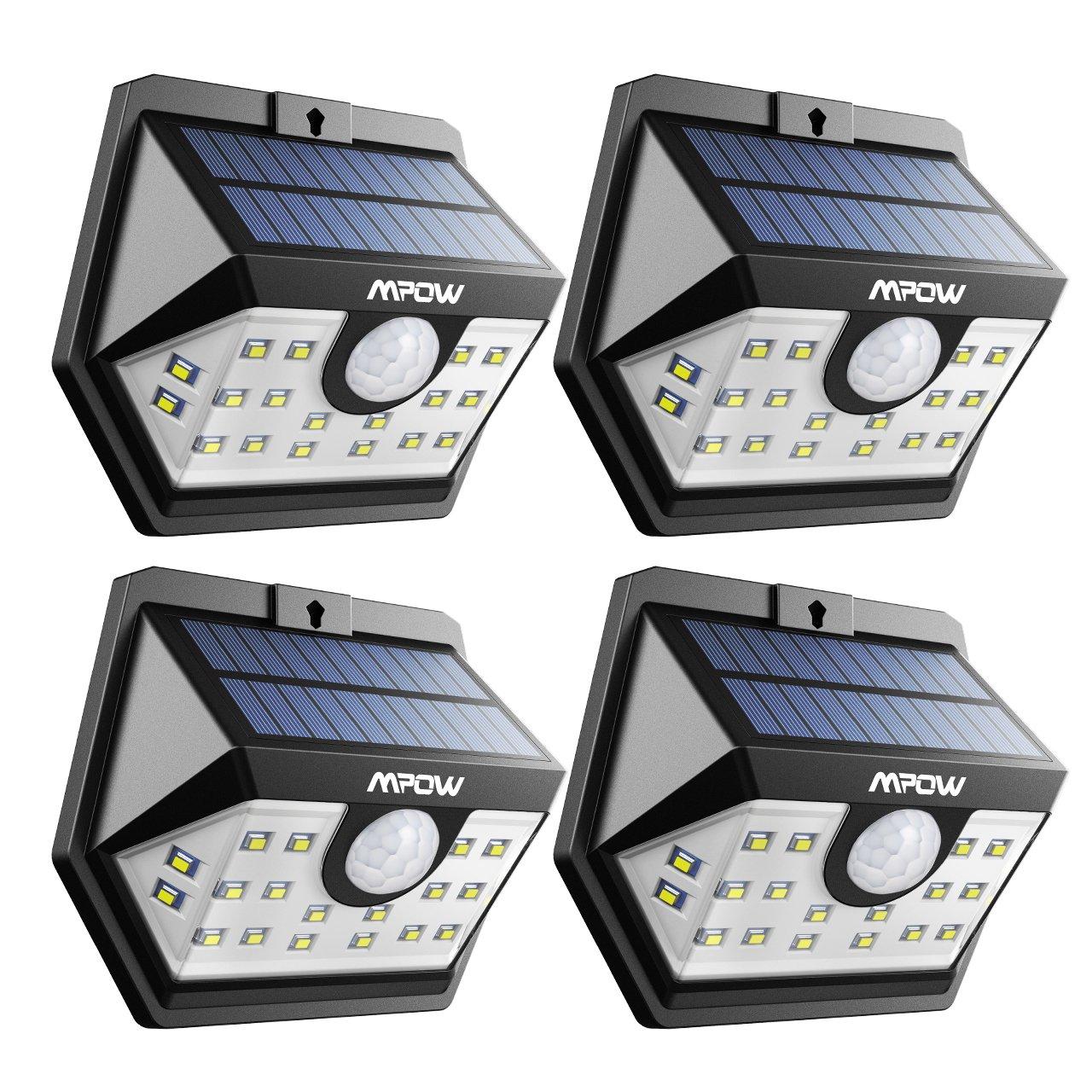 Mpow Weitwinkel Solarleuchte, 20 LED Superhelles Bewegung Solarlicht, Solarbetriebene Sicherheitswandleuchte, verbesserte 120 ° Weitwinkel Sensorkopf (4)