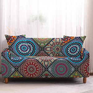 ZEIMON Boho Stretch Couch Covers Mandala Sofa Covers Living Room Furniture Protective Armchair Sofa Slipcover with One Free Pillowcase(Mandala 1,Sofa 3 Seater)