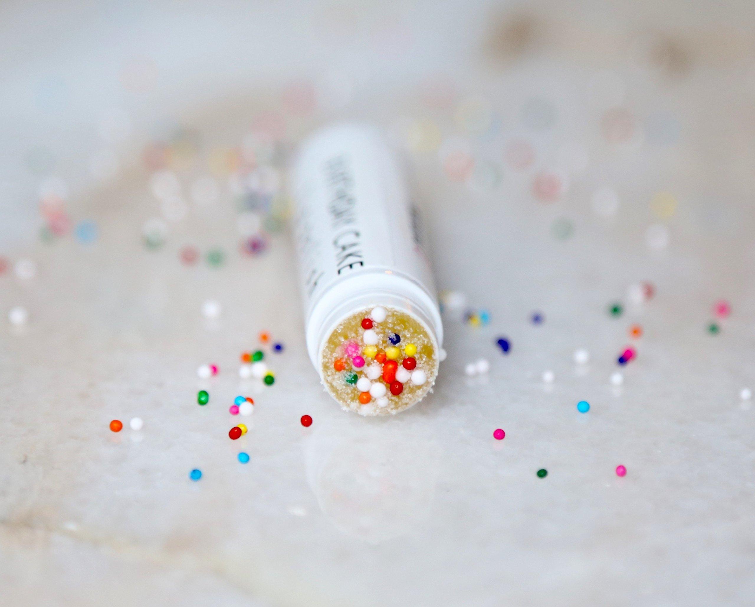 Birthday Cake Lip Scrub-Natural Vanilla Cupcake Batter Flavor-Polish & Exfoliate with Gentle Fine Sugar by Natural E