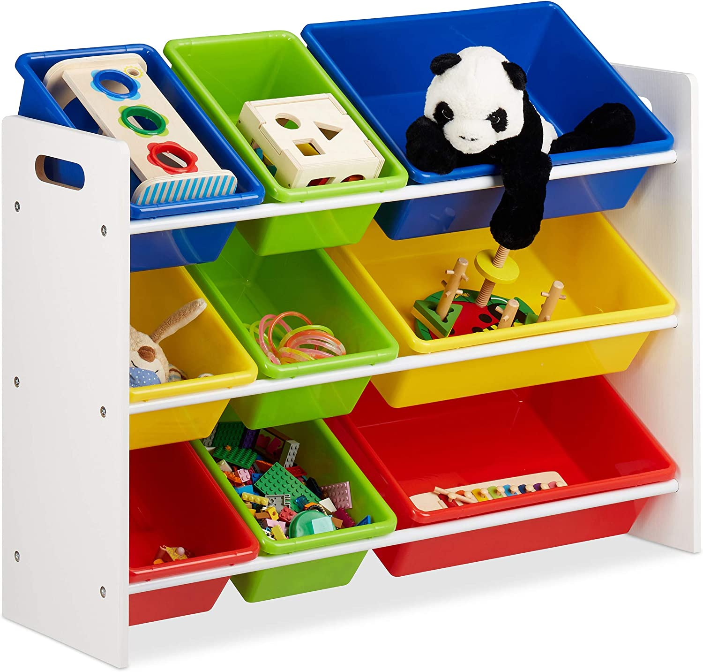 Relaxdays /Étag/ère pour Enfants 88x86x31 cm Mdf+Plastique Organisation 9 Bo/îtes de Rangement pour jouets Color/ées