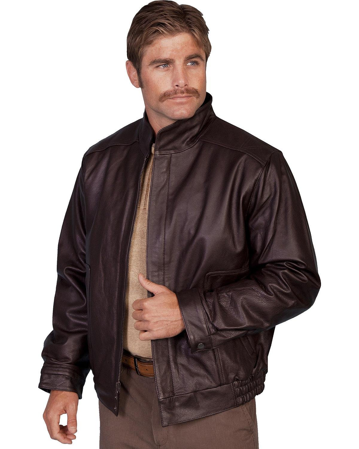 Scully Men's Top Grain Calfskin Leather Jacket Brown 38 R by Scully