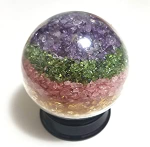 JM Future Large Five Elements Handmade Nature Stones & Crystal Tumbled Chips Gemstone Ball for Healing Spiritual Meditation Orgonite Home Decor Fengshui