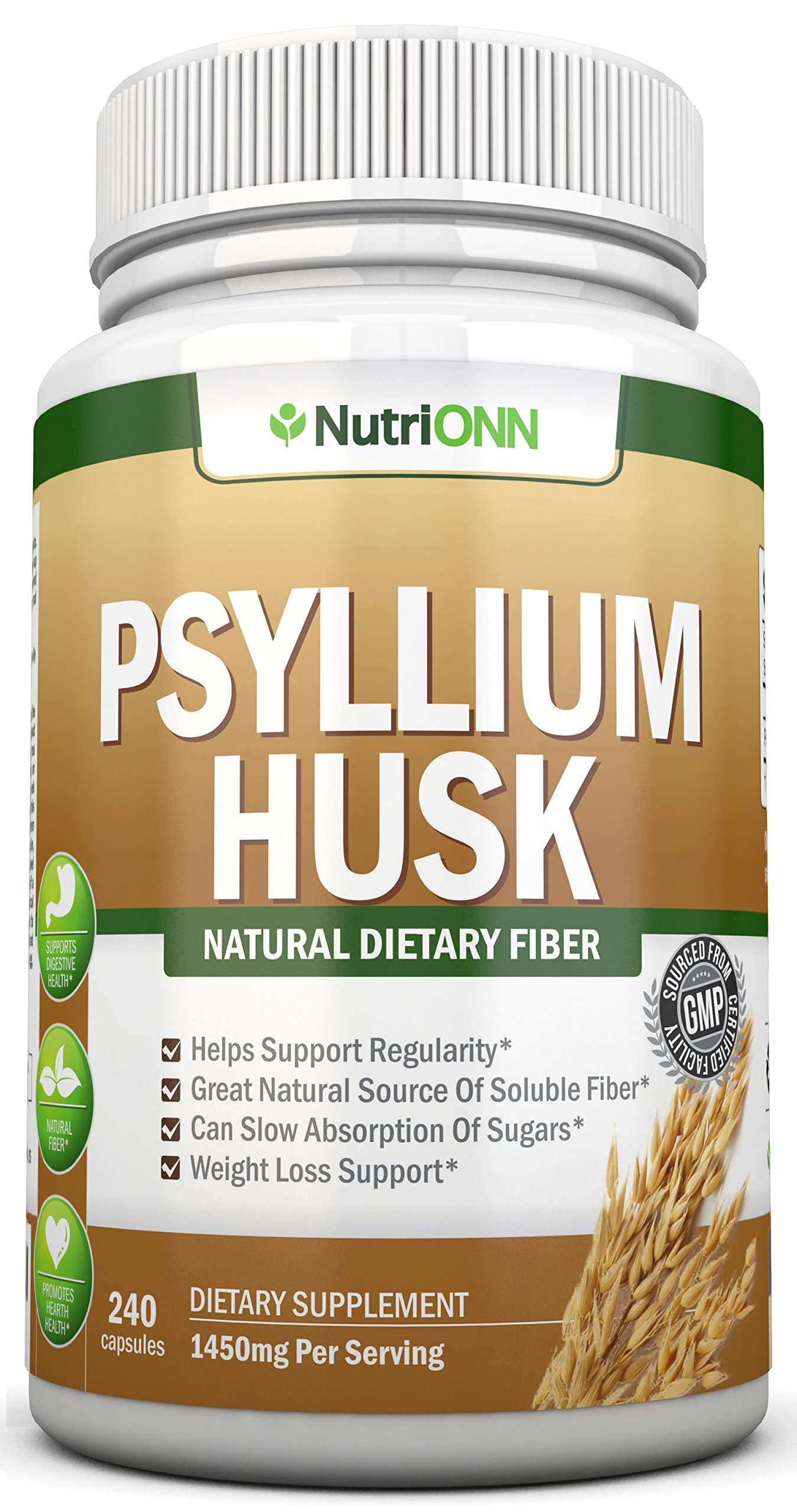 PSYLLIUM Husk Capsules - 1450mg Per Serving - 240 Capsules - Premium Psyllium Fiber Supplement - Great for Constipation, Digestion and Weight Loss - 100% Natural Soluble Fiber by NutriONN