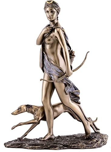 Top Collection Diana The Huntress Statue- Roman Goddess of The Hunt, The Moon, and Wild Animals Sculpture in Premium Cold Cast Bronze- 11-Inch Collectible Figurine