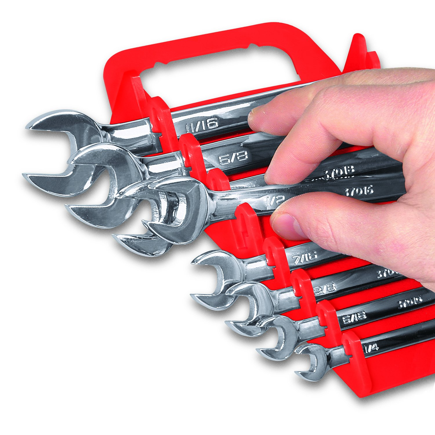 Ernst Manufacturing Gripper Wrench Organizer 15 Tool Red Open