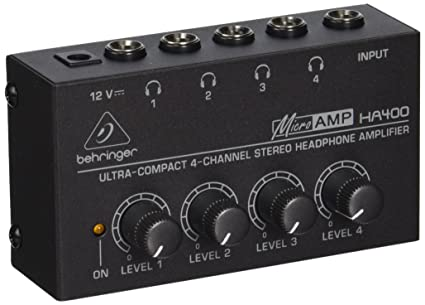 Amazon Com Behringer Microamp Ha400 Ultra Compact 4 Channel Stereo Headphone Amplifier Musical Instruments