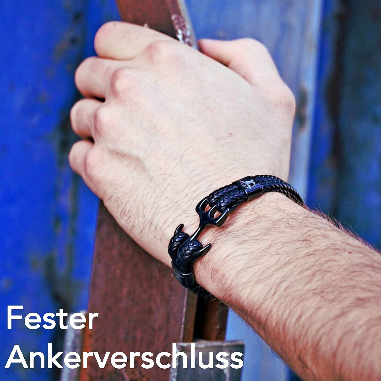 ETAVI/® Bracelet Ancre Homme Noir Argent 21,5 cm de long en Cuir synth/étique de haute qualit/é avec Cadeau pour Hommes