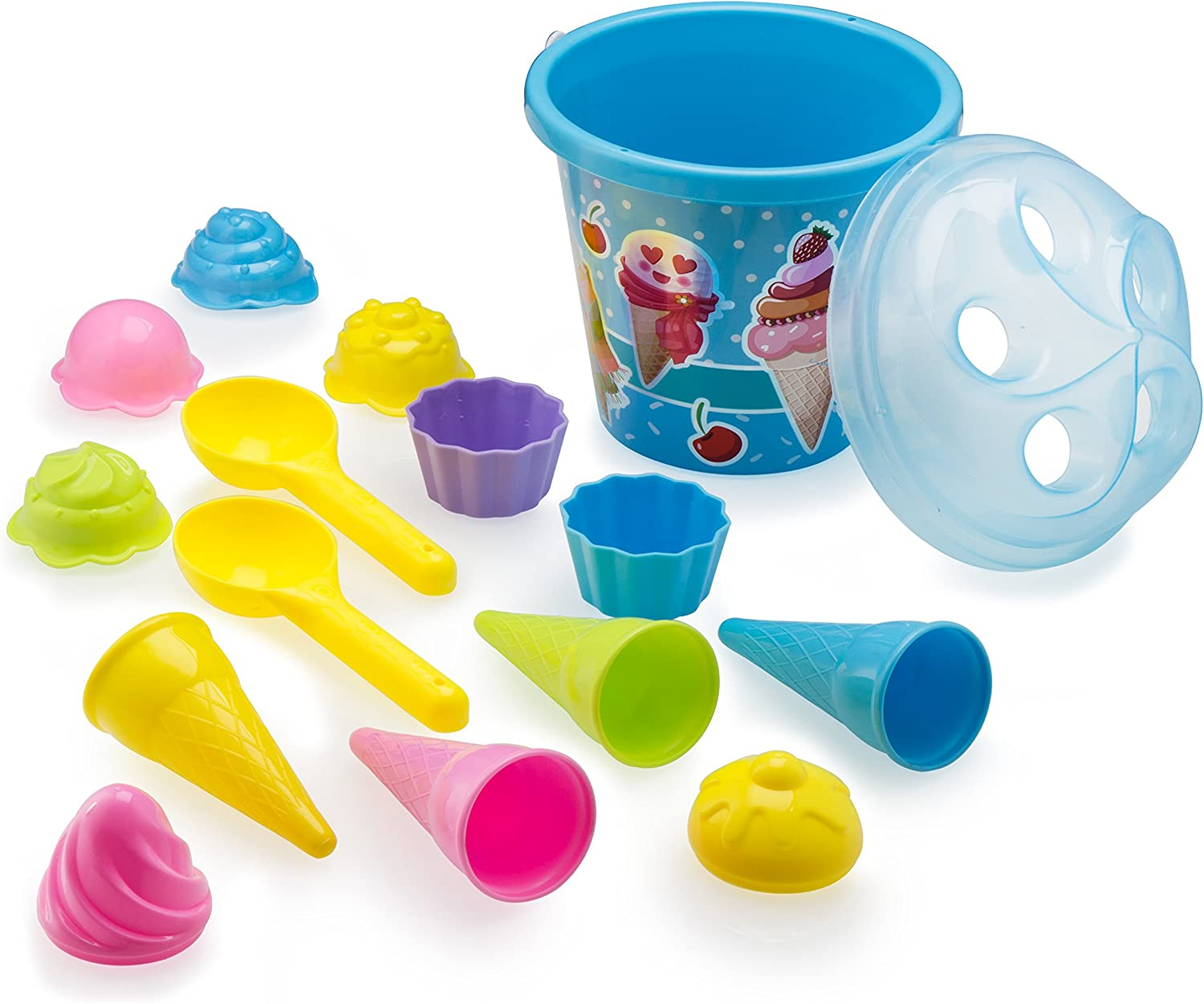 """Top Race Beach Toys, Sand Toys, 16 Piece Ice Cream Mold Set for Kids 3-10 with Large 9"""" Beach Toy Bucket Pail for Kids and Toddlers (Blue): Toys & Games"""