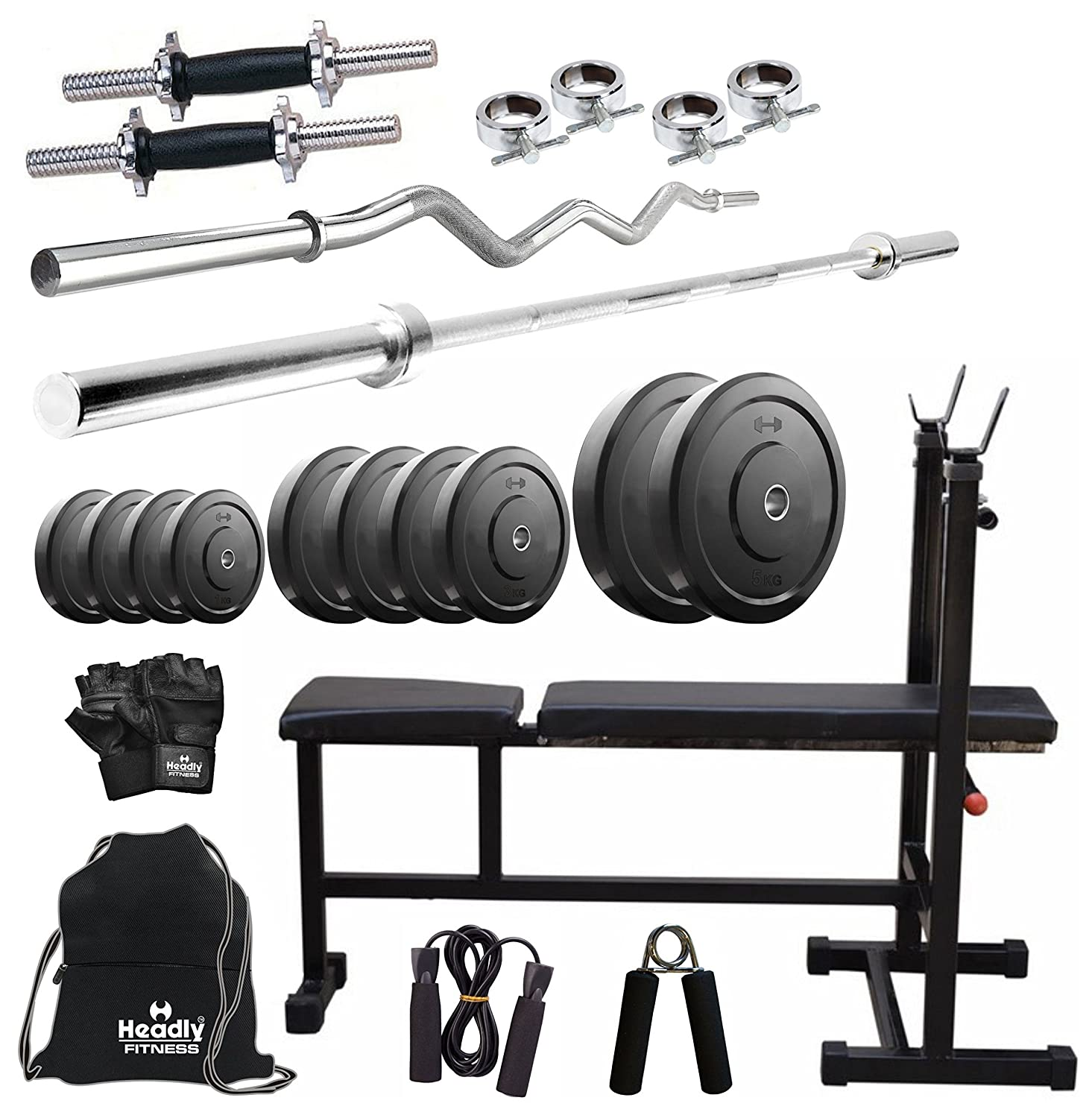 fbaeec96918 Headly 40 Kg Combo 5 Home Gym  Amazon.in  Sports