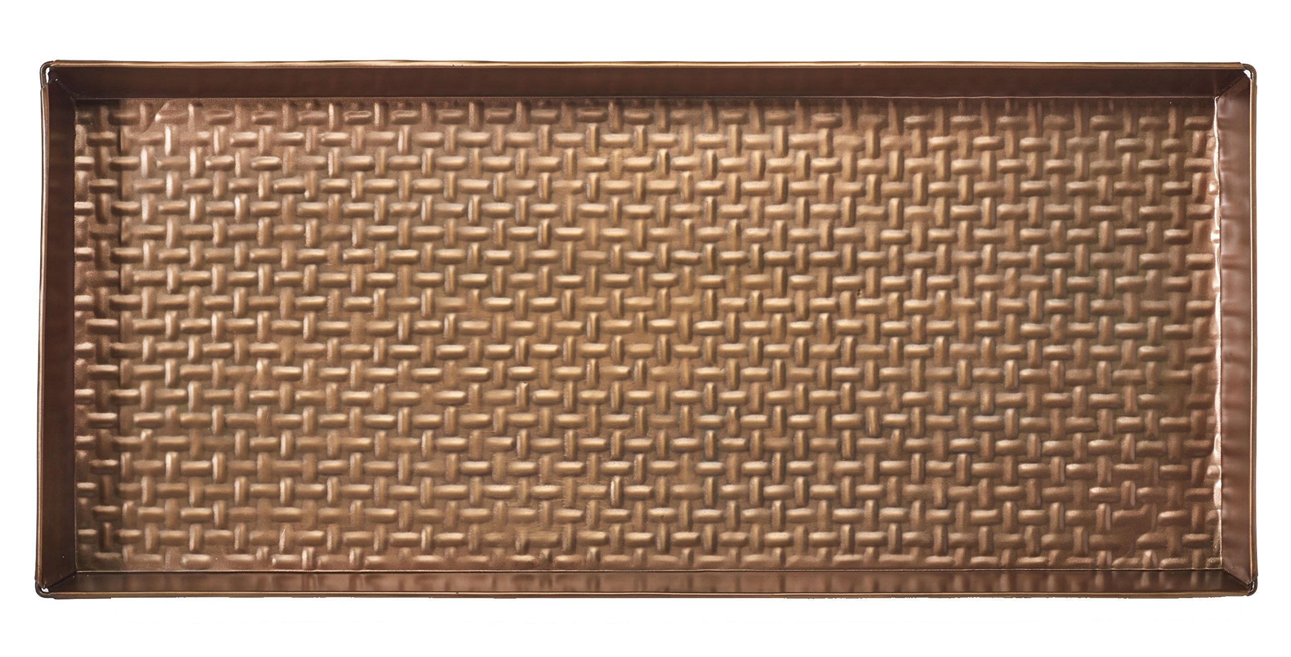 HF by LT Basketweave Pattern Metal Boot Tray, 30'' by 13'', Antique Copper Finish