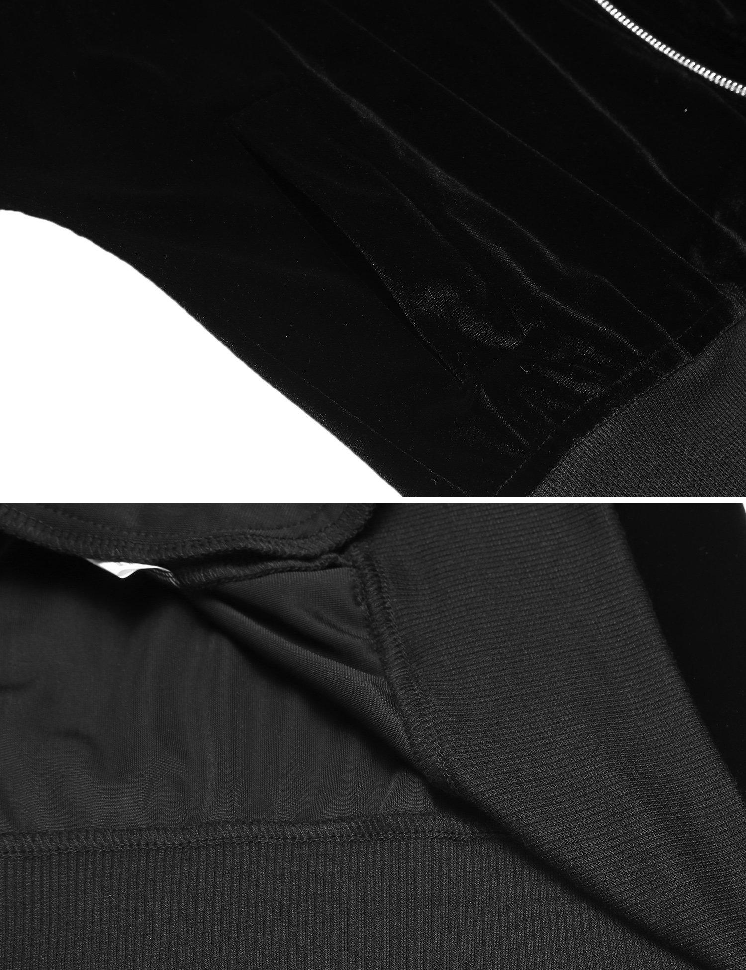 Beyove Women's Lightweight Velvet Coat Hooded Active Outdoor Windbreaker Jacket Black S by Beyove (Image #6)