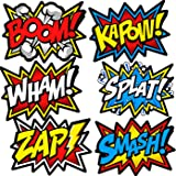 Bigtime Signs Large Superhero Word Cutouts - Birthday Party Supplies Wall Decoration Signs - 12 inch x 16 inch - 12 pcs Light