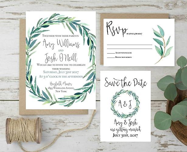 Wedding Invitations Set Rustic Wedding Invites Eucalyptus Wedding
