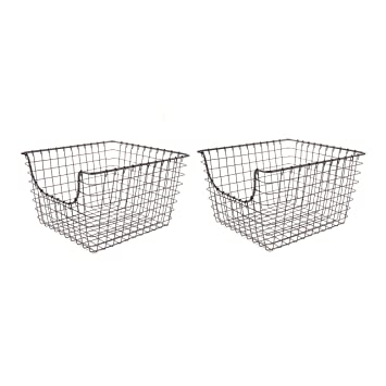 Spectrum Diversified Scoop Wire Storage Basket, Medium, Industrial Gray,  2 Pack