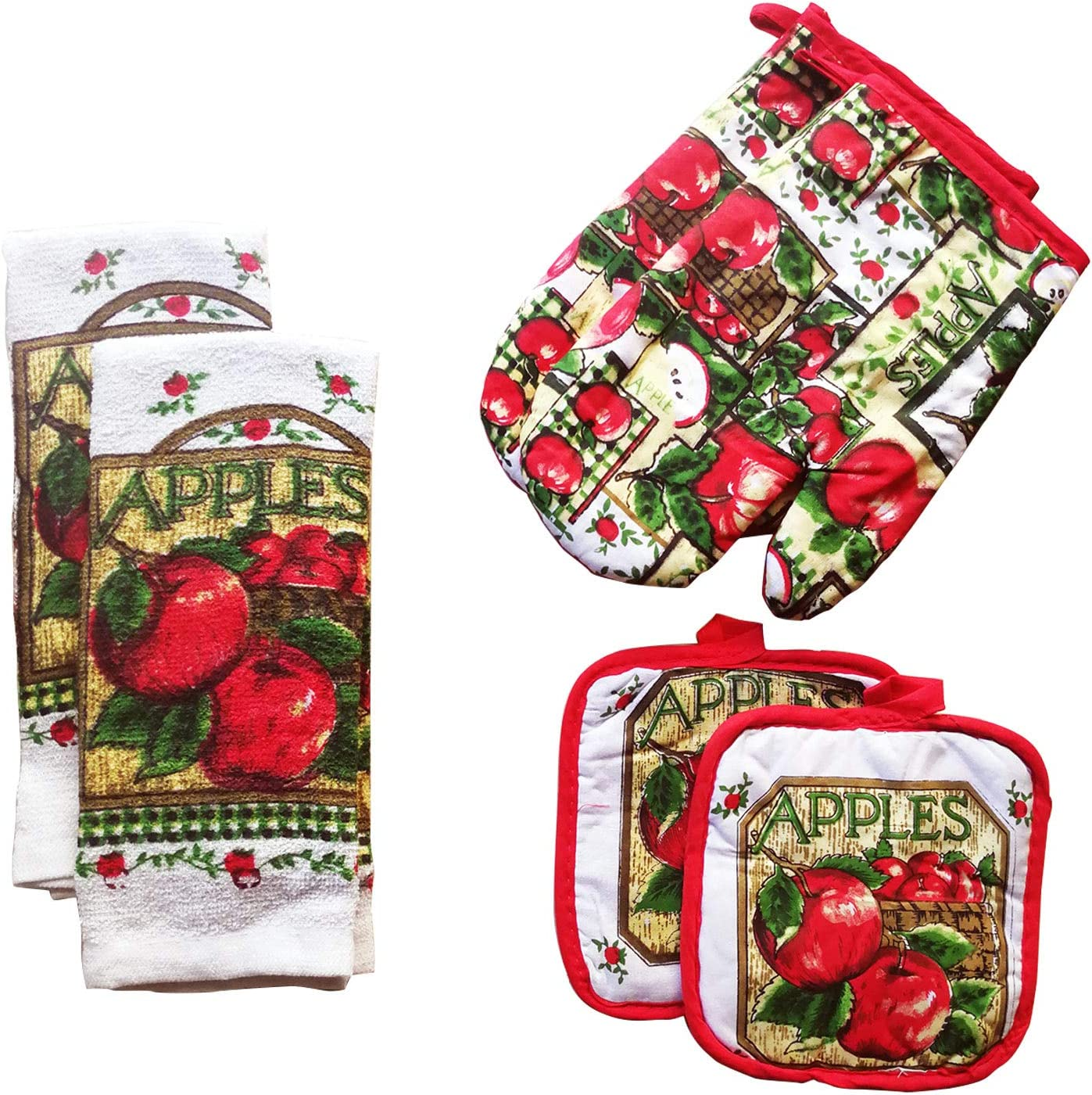 FSTIKO Delicious Apple Themed 6-Piece Kitchen Linen Set Includes 2 Oven Mitt, 2 Pot Holders and 2 Kitchen Towels Perfect for Cooking, Baking, Housewarming Gift (Set of 6 Piece)