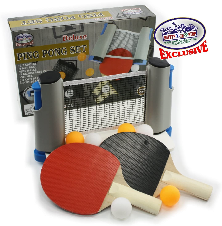 Matty de Juguete Stop Deluxe–Red de Tenis de Mesa (Ping Pong) para IR con Totalmente Ajustable, 2remos, 6Bolas (3Naranja y 3Blanco) & Malla Bolsa de Almacenamiento