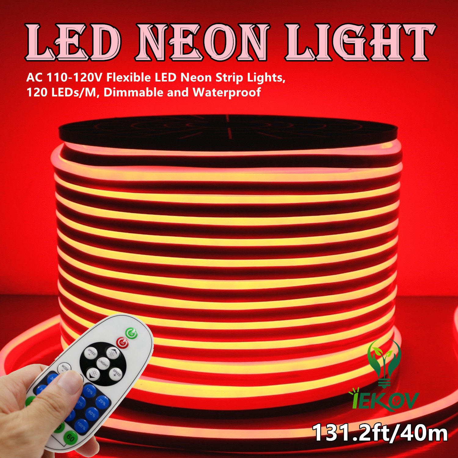LED NEON LIGHT, IEKOV™ AC 110-120V Flexible LED Neon Strip Lights, 120 LEDs/M, Dimmable, Waterproof 2835 SMD LED Rope Light + Remote Controller for Home Decoration (131.2ft/40m, Red) by IEKOV (Image #2)