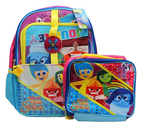 a77e2e7b365 Amazon.com  Inside Out 15 Inch Backpack   9.4 Inch Lunch Box Set ...