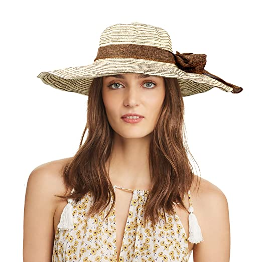 9781517cf3826 Women Straw Hat Sun Hat Big Floppy Hat Foldable Roll up Big Brim Beach Hats  Brown