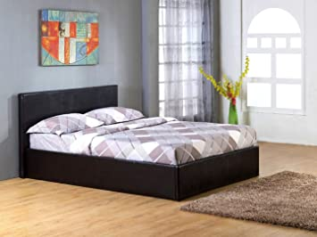 TIGERBEDS 4ft 6in Gas Lift Ottoman Storage Bed Black Leather
