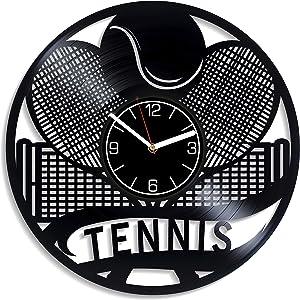 Kovides Tennis Vinyl Record Wall Clock Rackets Vinyl Clock Birthday Gift for Men Tennis Wall Clock Modern Sport Home Decor Rackets Gift Tennis Clock Sport Wall Art 12 inch Wall Clock