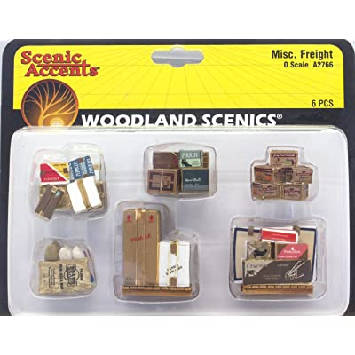 Woodland Scenics Scenic Accents Miscellaneous Packaged Freight (Boxes, Crates, Sacks Total 6 diff.) O: Toys & Games