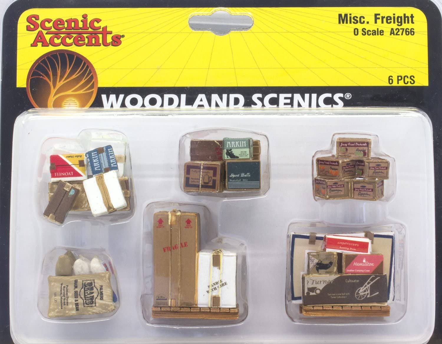 Scenic Accents Miscellaneous Packaged Freight Boxes, Crates, Sacks Total 6 diff. HO Scale Woodland Scenics