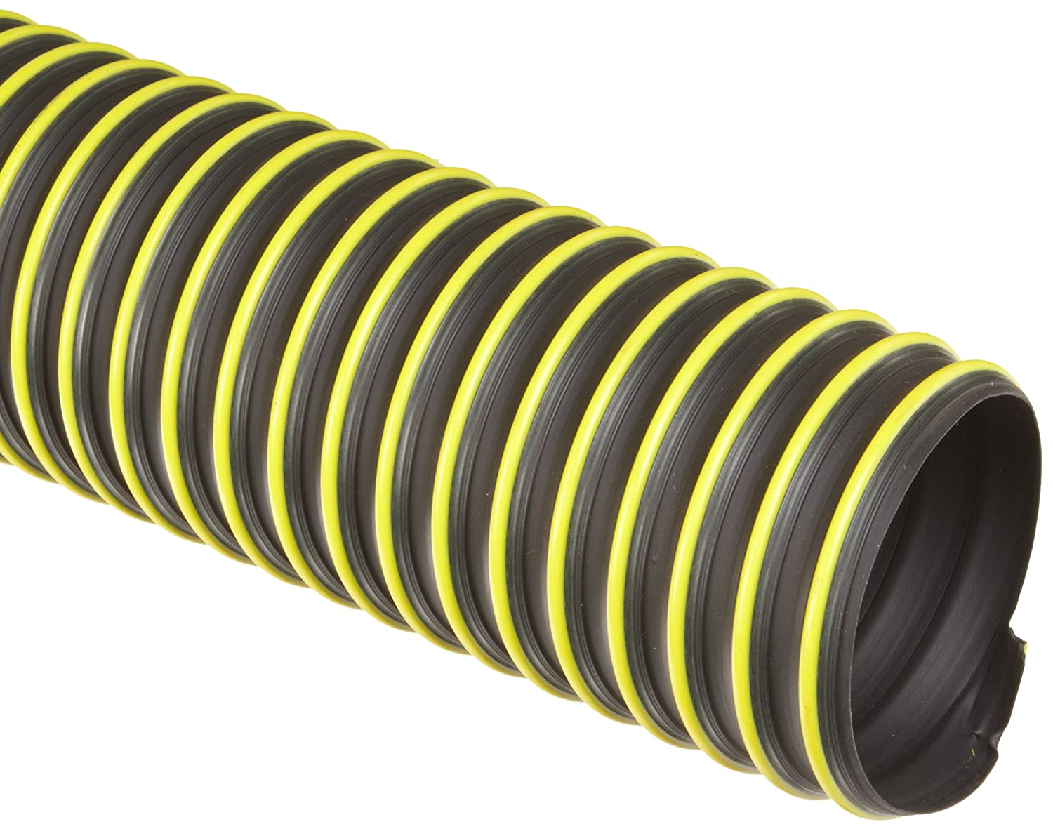 "Flexadux T-7W Thermoplastic Rubber Duct Hose, Black, 8"" ID, 0.030"" Wall, 25' Length"