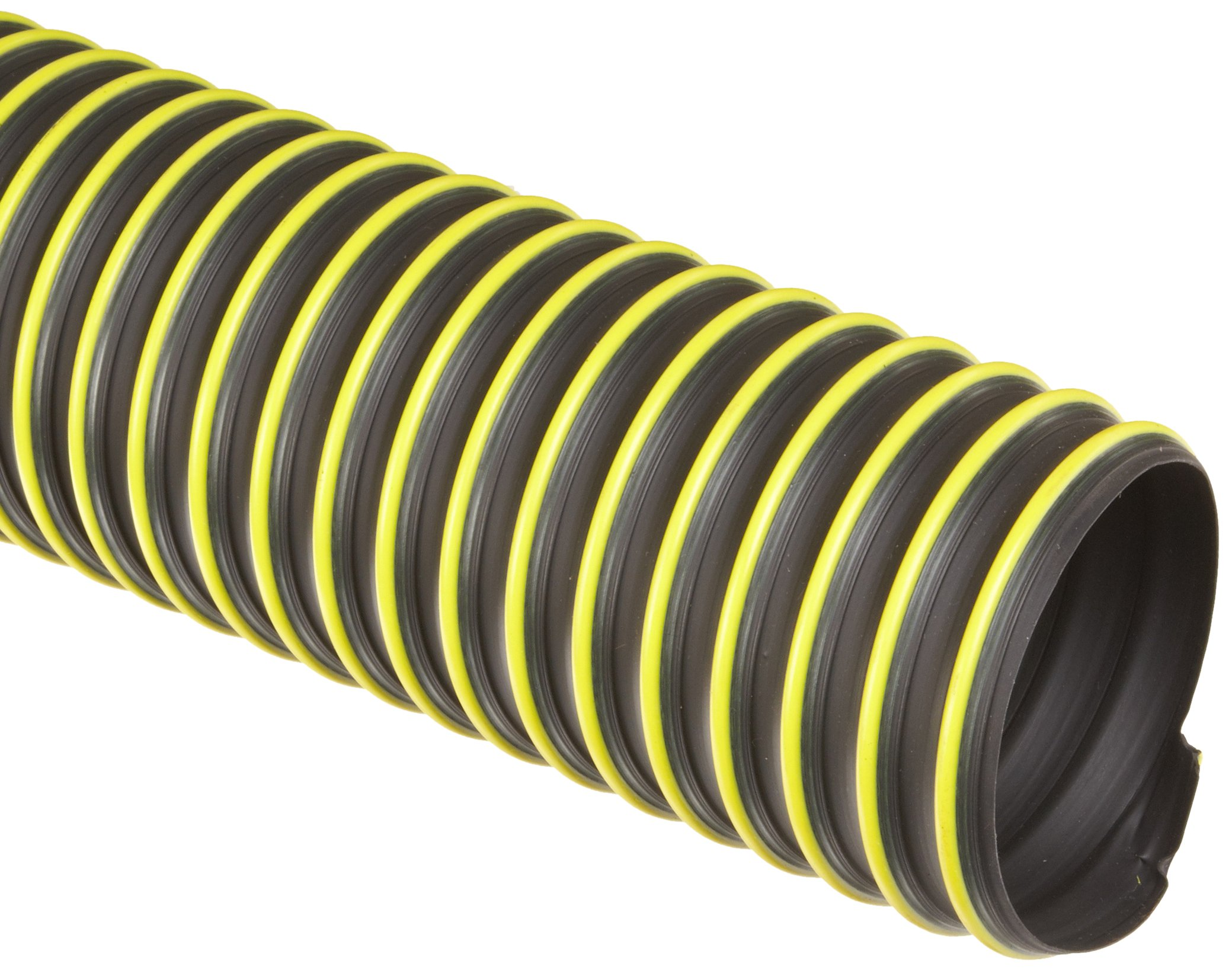 Flexadux T-7W Thermoplastic Rubber Duct Hose, Black, 6'' ID, 0.030'' Wall, 25' Length