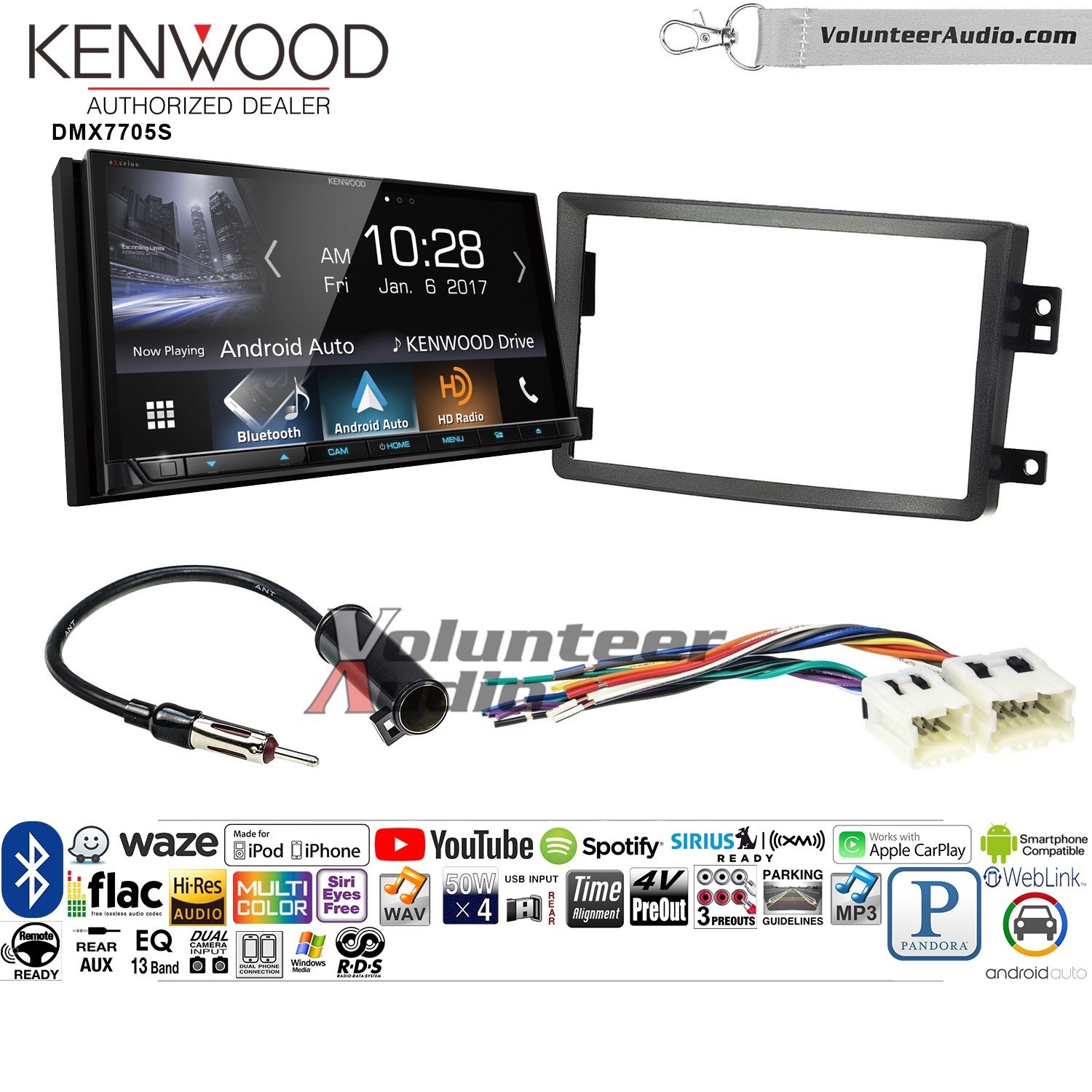 Volunteer Audio Kenwood DMX7705S Double Din Radio Install Kit with Apple CarPlay Android Auto Bluetooth Fits 2006-2009 Nissan 350Z