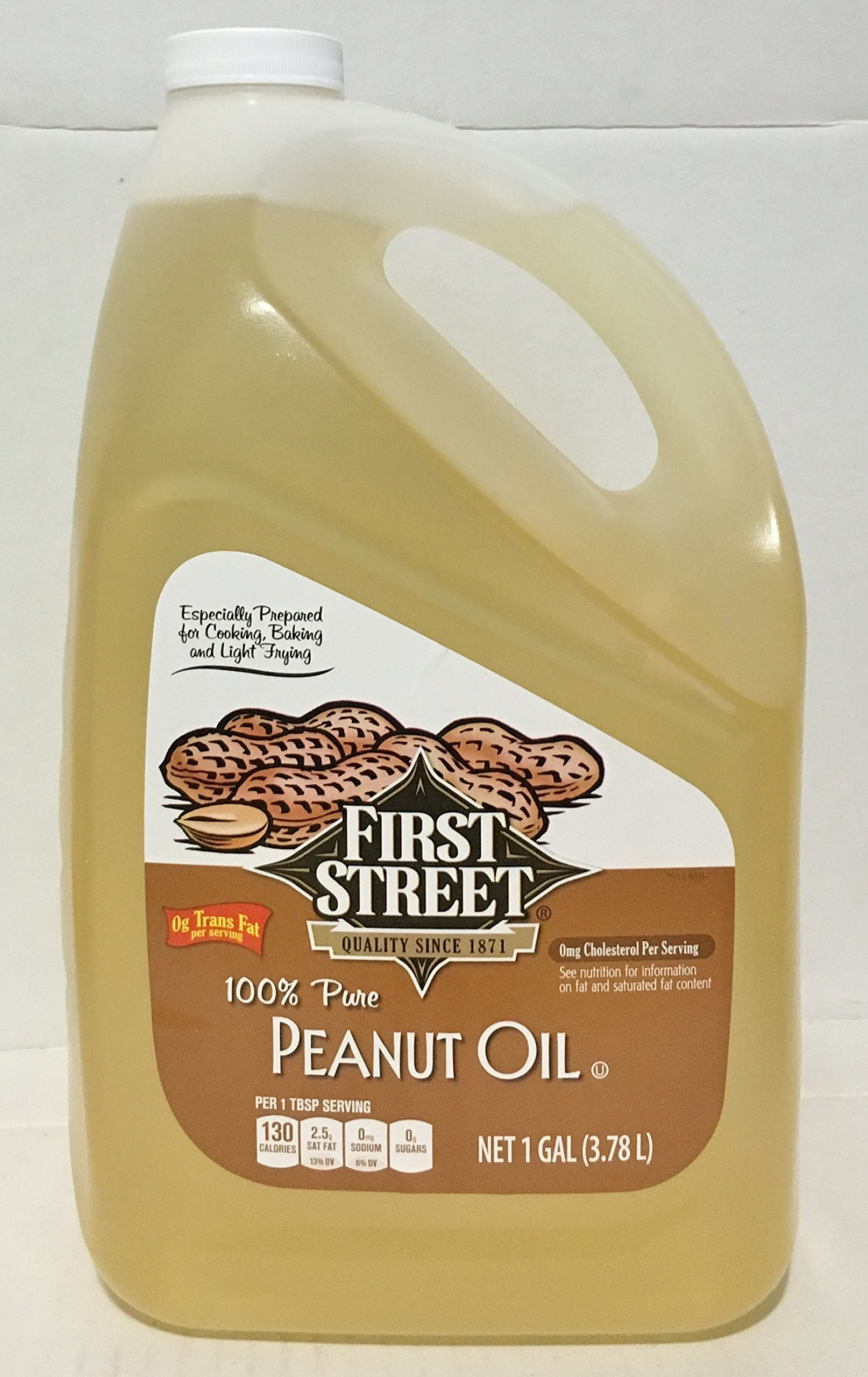 1 Gallon First Street 100% Pure Peanut Oil (3.79 Liter) For Cooking Light Frying Baking