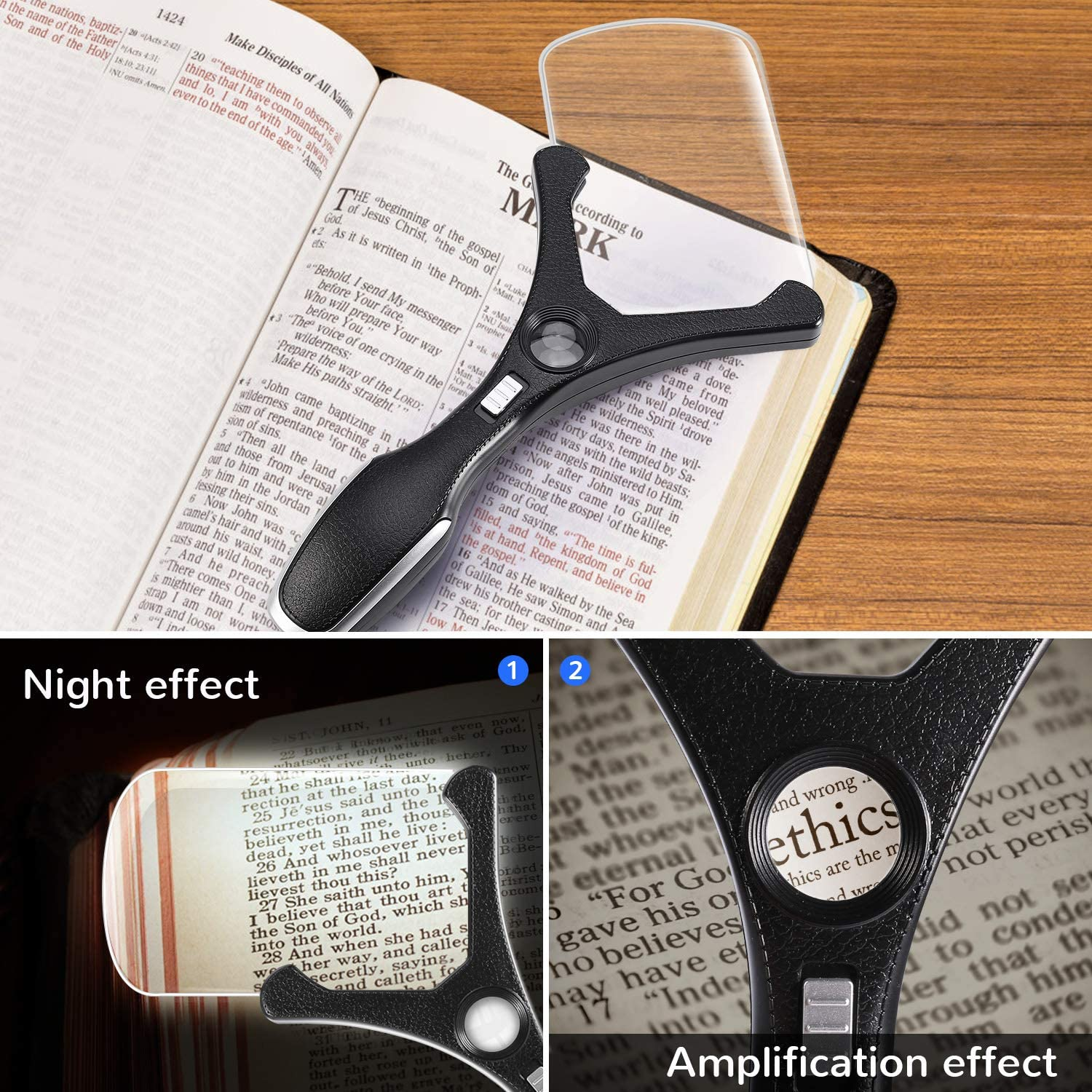 Repair Hobbies 2.5X Rectangular Handheld Magnifier with Bright LED Light for Reading Macular Degeneration Tm-home Large Hand Magnifying Glass Low Vision