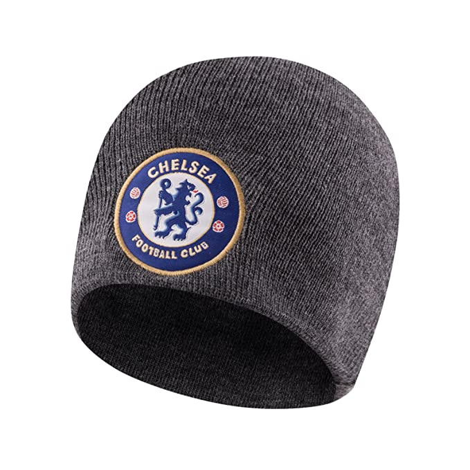 edd7863f440 Chelsea FC Official Football Gift Knitted Bronx Beanie Hat Black   Amazon.co.uk  Clothing