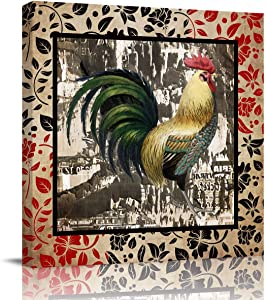 FOREVER20 Canvas Print Wall Art for Bathroom Kitchen Wall Decor Rustic Farm Rooster Picture Painting Contemporary Artwork Stretched and Framed for Home Bedroom Livingingroom 20x20in
