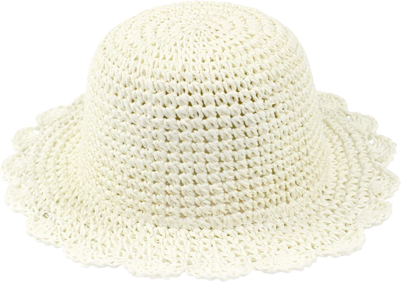 ANIMQUE Bambina Cappello da Sole Cappello di Paglia Cappello Estivo per Bambine Ragazze Pieghevole Protezione UV Cappello per la Spiaggia Estiva da Vacanza Dolce e Grazioso Beige 48//54cm