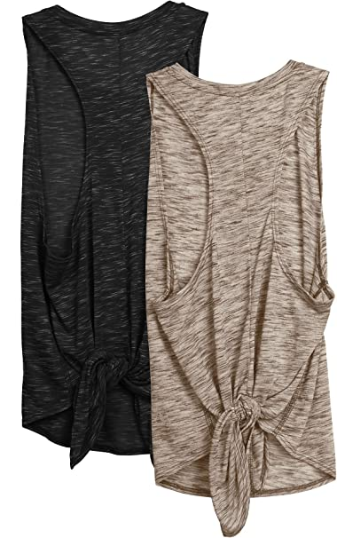 Pack of 2 icyzone Workout Tank Top for Women Tie Back Activewear Exercise Athletic Yoga Tops Running Gym Shirts