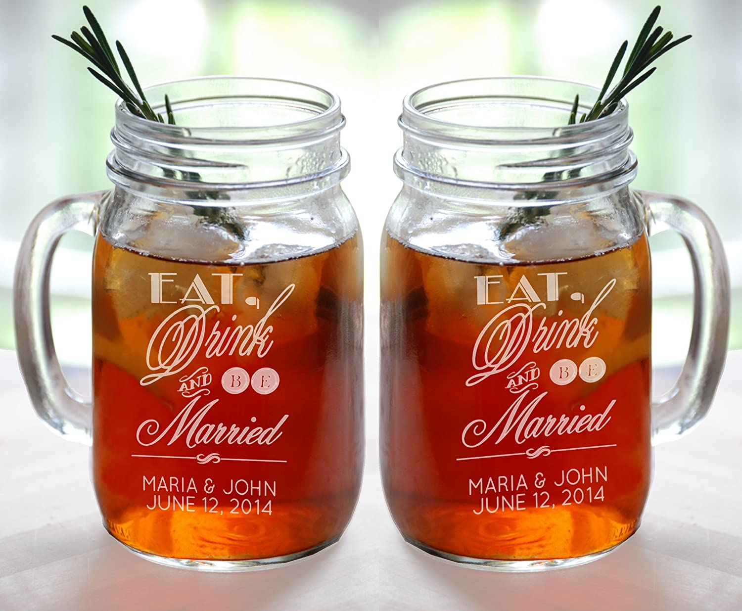 Eat Drink And Be Married Set Of 2 Personalized Mason Jars Drinking Mugs With Handle Mr And Mrs Custom Etched With Name And Date For Wedding