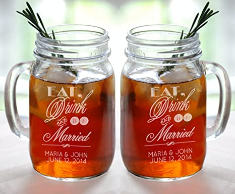 amazon com eat drink and be married set of 2 personalized mason